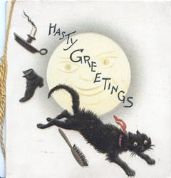 HASTY GREETINGS in blue, hair-brush, shoe & candle thrown at black cat that runs under smiling moon
