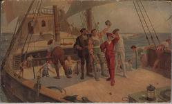 "COPY OF PAINTING BY MR. HOWARD DAVIE, ON BOARD THE SS. ""NERISSA,"" REPRESENTING JOHN CABOT AND HIS THREE SONS SIGHTING NEWFOUNDLAND IN JUNE 1497"