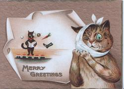 MERRY GREETINGS in gilt at base of plaque showing cat standing on stage pelted with items, tabby cat right with one eye closed & bandage