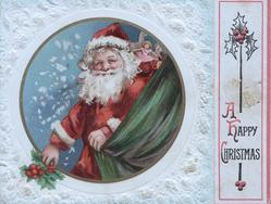 A HAPPY CHRISTMAS Santa in circular inset holding holly sprig & green curtain, embossed white design background