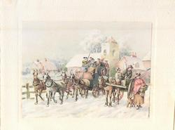 no front title, townsfolk on horse carriage & cart in snow, church & cottages behind
