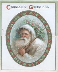 CHRISTMAS GREETINGS head & shouilders of Santa in grey coat carrying stick & holly over his shoulder