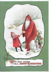 WITH BEST WISHES FOR A HAPPY CHRISTMAS(illuminated) Santa in snow with sack of toys pulls a cracker with girl in red