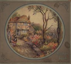 BLOTTER BOOK cottage and garden, circular image within a brown frame