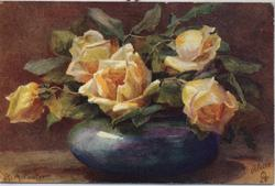 FRAGRANCE OF THE ROSE yellow roses in blue rose bowl