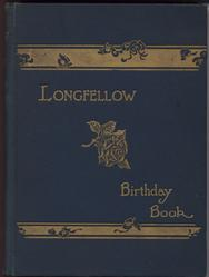 LONGFELLOW BIRTHDAY BOOK cloth blue covers with gold gilt writing and embossed rose