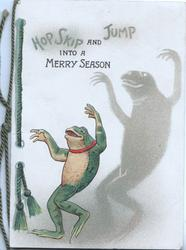 HOP SKIP AND JUMP INTO A MERRY SEASON, frog dances, shadow right