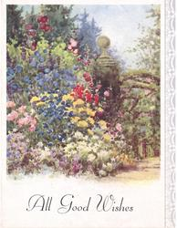 ALL GOOD WISHES garden with many tall flowers, path right, stylised flowers on panel right