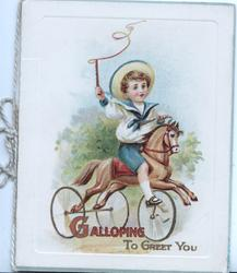 GALLOPING (in red) TO GREET YOU(in gilt) boy rides a horse-shaped tricycle right