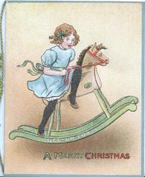 GEE-UP FOR A MERRY CHRISTMAS, girl in blue rides wooden rocking-horse right