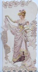 GREETINGS in gilt below complex design behind red-haired girl standing holding up skirt with right hand, stylised pansies around