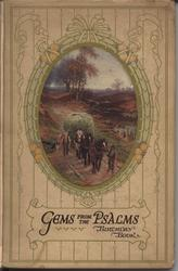 GEMS FROM THE PSALMS BIRTHDAY BOOK oval picture in decorative frame and patterned line covers