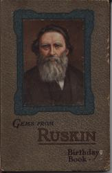 GEMS FROM RUSKIN BIRTHDAY BOOK square portrait in decorative frame, patterned covers