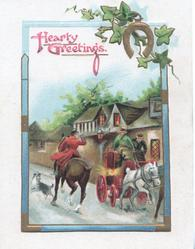 HEARTY GREETINGS in pink, rider passes stage coach moving in opposite directions, lighted houses behind, barking dog