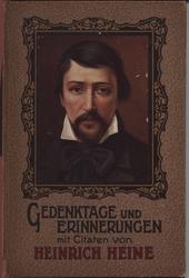 GEDENKTAGE UND ERINNERUNGEN MIT CITATEN VON HEINRICH HEINE square portrait in decorative frame and brown textured covers