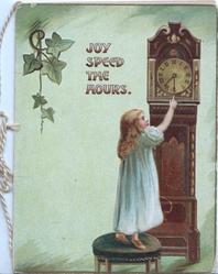 JOY SPEED THE HOURS young girl stretches to change the time on Grand-father clock, sparce ivy left