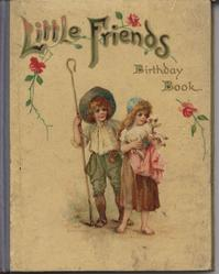 LITTLE FRIENDS BIRTHDAY BOOK boy with shepherds hook and girl with lamb, blue cloth binding