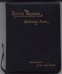 LITTLE FRIENDS BIRTHDAY BOOK SELECTIONS FROM THE POETS padded black leather cover with gold gilt letters