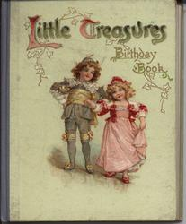 LITTLE TREASURES BIRTHDAY BOOK boy and girl dance, blue cloth spine