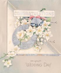 CONGRATULATIONS ON YOUR WEDDING DAY silver bells & horseshoe over white blossoms