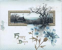 HAPPY DAYS(H & D illuminated) gilt bordered rural inset above, blue cornflowers below