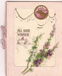 ALL GOOD WISHES FOR AULD LANG SYNE white and purple heathers to the right, gilt inset of elk above
