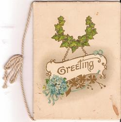 GREETING in gilt plaque, ivy above and forget-me-nots below
