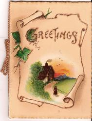 GREETINGS on parchment with rural scene below, ivy leaves coming from behind