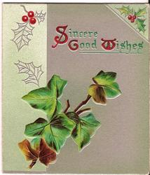SINCERE GOOD WISHES (S/G/W) illuminated, surrounded by ivy leaves