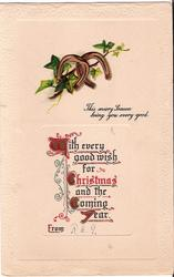 WITH EVERY GOOD WISH FOR CHRISTMAS AND THE COMING YEAR  FROM (W/C/C/Y) illuminated,  horshoes and verse above