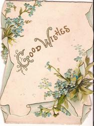 GOOD WISHES (G/W/) illuminated, surrounded by forget-me-nots