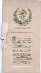 GOOD WISHES in gilt below heather bordered crest of rampant lion above verse, cream background