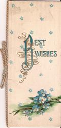 BEST WISHES cover decorated with forget-me-not flowers, pile of forget-me-nots below text