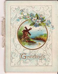 GREETINGS in gilt, below rural inset decorated by forget-me-nots