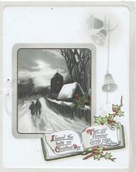 I HEARD THE BELLS ON CHRISTMAS DAY THEIR OLD FAMILIAR CAROLS PLAY below 2 bells, rural inset, holly design
