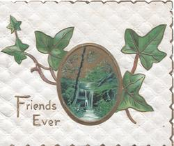 FRIENDS EVER below oval rural inset & ivy