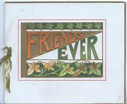 FRIENDS EVER( illuminated) with ivy above & below on central plaque