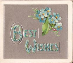 BEST WISHES written with forget-me-nots, bunch of forget-me-nots to the right