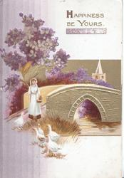 HAPPINESS BE YOURS in gilt above glittered purple & white lilac, girl stands near bridge feeding ducks