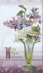 WITH BEST WISHES in gilt left below glass vase of white & purple lilac, background shades of white/purple
