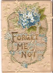 FORGET-ME-NOT in gilt in front of rows of forget-me-nots