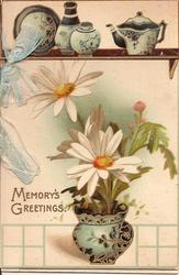 MEMORY'S GREETINGS daisies in vase underneath shelf