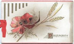 PROSPERITY( P illuminated) below wheat & red poppy, vertical gilt design left