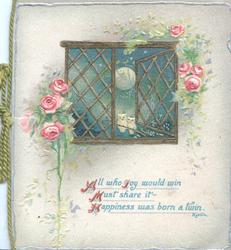 ALL  WHO JOY ....A TWIN in blue below moonlit widow, 2 tiny owls, pink roses around