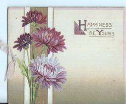 HAPPINESS BE YOURS (H/Y) illuminated, purple chrysathemums to the left