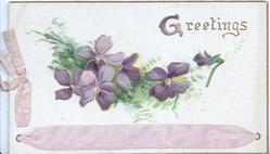 GREETINGS(G illuminated) above  purple pansies & printed purple ribbon