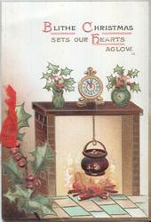 BLITHE CHRISTMAS SETS OUR HEARTS AGLOW (J.C.) (B/C/H) illuminated, holly branches in two vases above fireplace