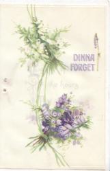 DINNA FORGET in purple & white, white & purple heather left