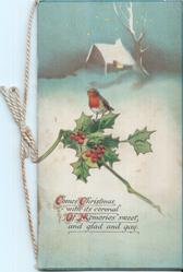 COMES CHRISTMAS WITH ITS CORONAL OF MEMORIES SWEET, AND GLAD AND GAY (C/C/O/M/) illuminated, single robin perched on branch of holly in front of house