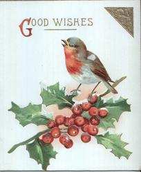 GOOD WISHES (G illuminated) in gilt, single robin perched on top of holly branch